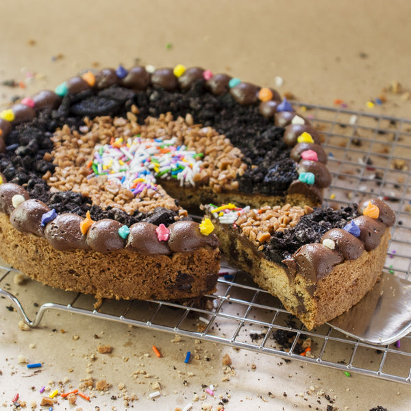 8 inch round stuffed party time pizza Cookie Cake with oreos, toffee bits and sprinkles
