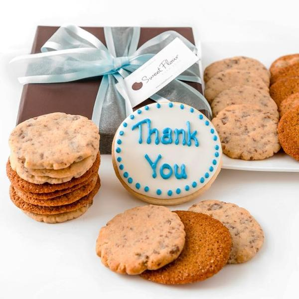 Crispy Cookie and buttery shortbread gift box with thank you cookie
