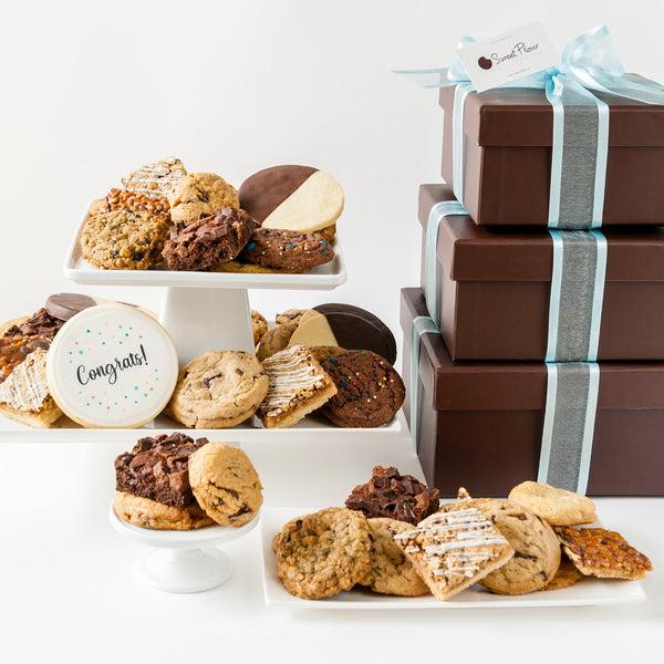 Deluxe Cookie Gift Tower with Congrats Cookie