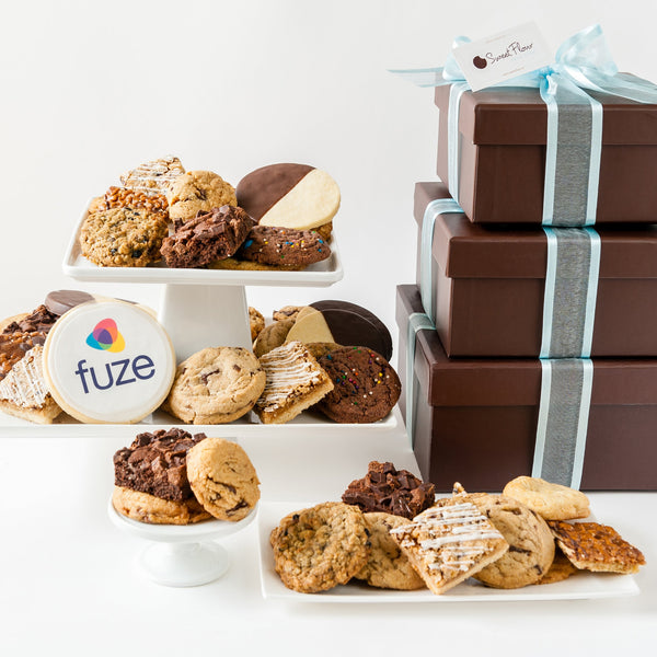 Deluxe Cookie Gift Tower with Logo Cookie