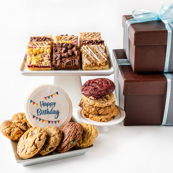 Deluxe Duo Cookie Gift Boxes with Happy Birthday Cookie