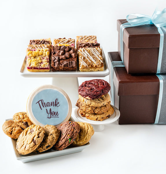 Deluxe Duo Cookie Gift Box with Thank You decorated cookie