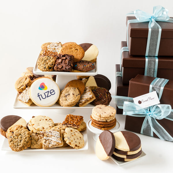 Deluxe Plus Cookie Gift Tower with Logo Cookie