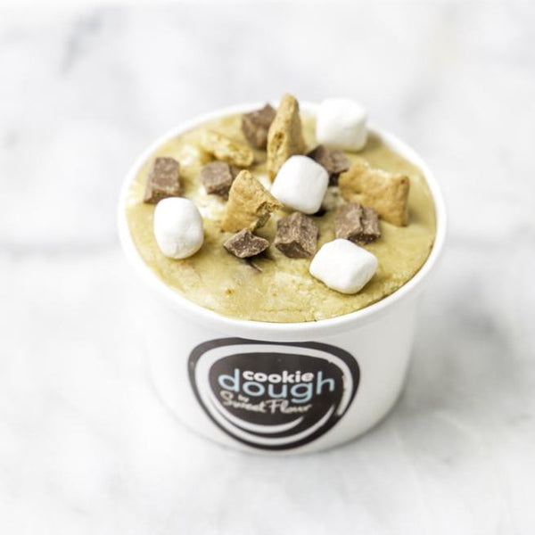 S'mores Cookie Dough in a cup with chocolate chunk, marshmallows and graham crackers
