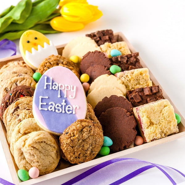 Cookie Tray Gift with Happy Easter and Chick Decorated Cookie