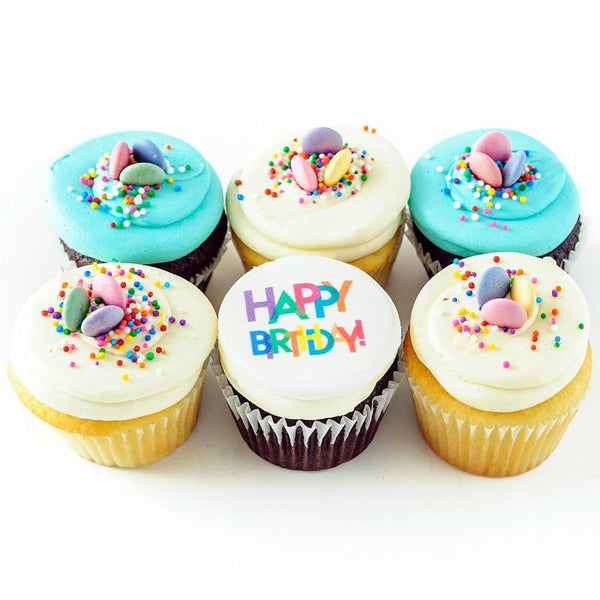 half dozen Party Like It's Your Birthday Cupcakes with Happy Birthday topping and sprinkles