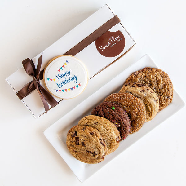 Happy Birthday Cookie Gift Box with 6 cookies & 1 decorated Happy Birthday cookie