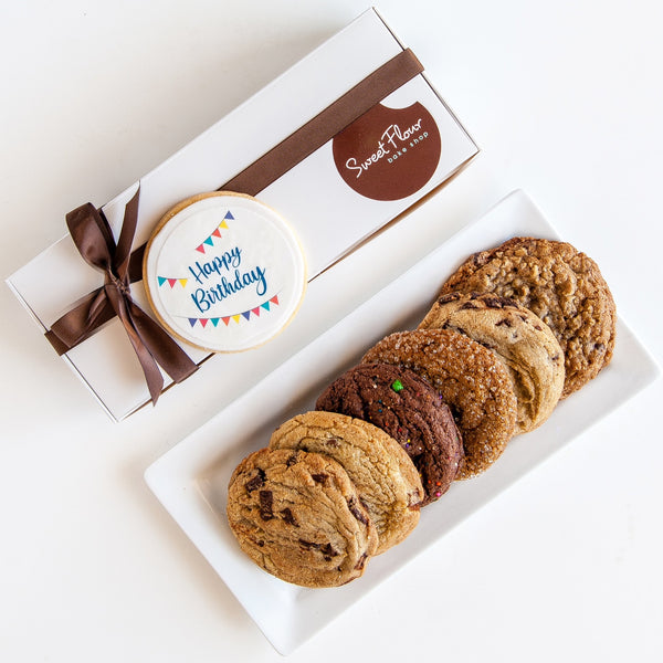 Happy Birthday Cookie Gift Box of 6 Signature Cookies + Ribbon