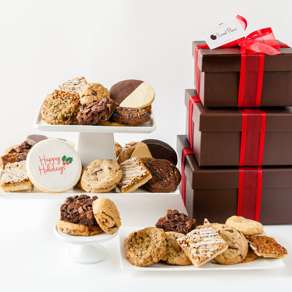 Happy Holidays Deluxe Cookie Gift Tower