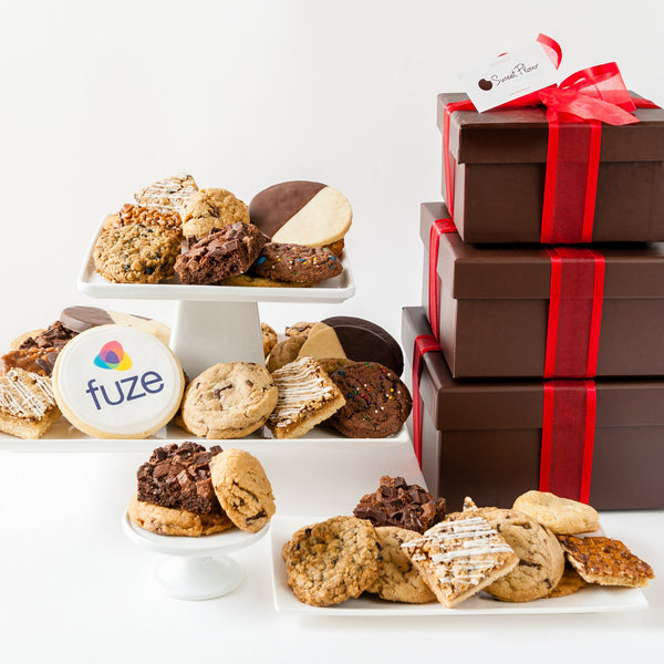 Happy Holidays Cookie Gift Tower with Logo Cookie