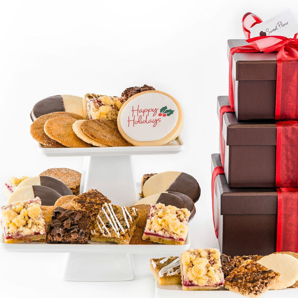 Baker's Select Holiday Gift Tower with assorted shortbread, brown, bars and crispy cookies and Happy Holidays cookie
