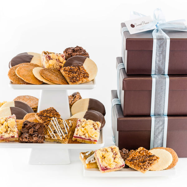 Baker's Select Gift Tower - 3 box tower with assorted brownie, bars, shortbread and crispy cookies