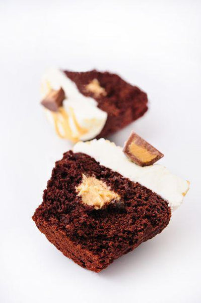 Open peanut butter chocolate chunk cupcake