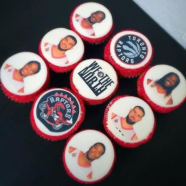 Custom Cupcakes Toronto Raptor cupcakes with team players and team logo