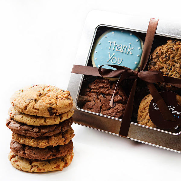 Thank You cookie tin with signature cookies and Thank You decorated sugar cookie
