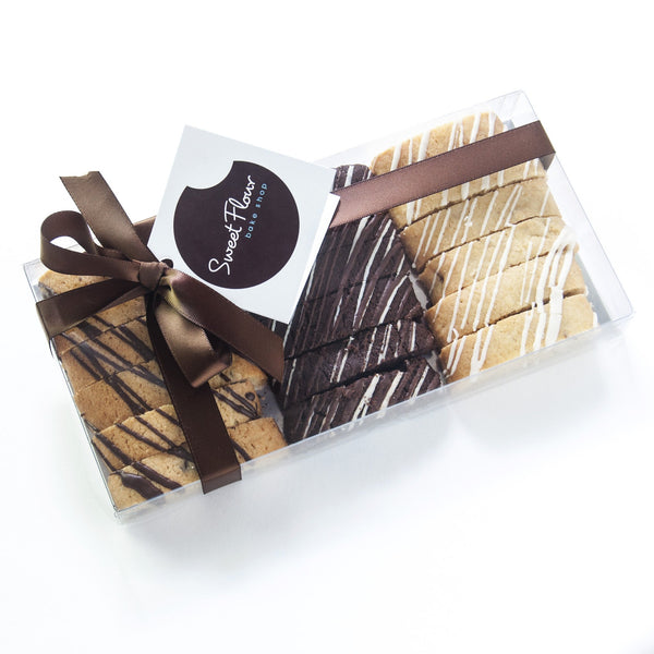 Chocolate Drizzled Biscotti gift box in assorted flavors