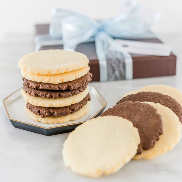 Assorted shortbread cookie gift box with blue ribbon