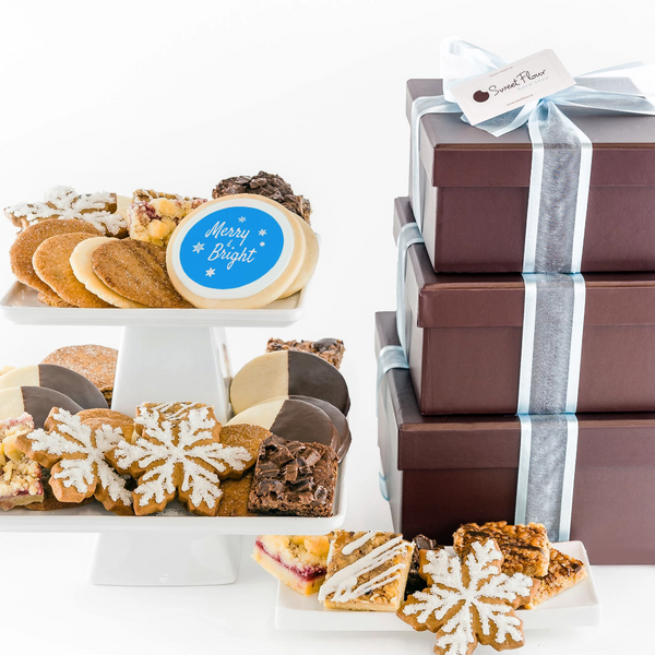 Gifts for SickKids - Deluxe Cookie Gift Tower with shortbread, brownie, bars, crispy cookies and merry and bright cookie