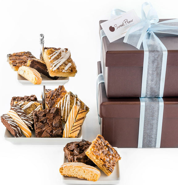 Baker's Select Signature Duo with assorted brownies, bars and biscotti in two brown boxes with blue ribbon