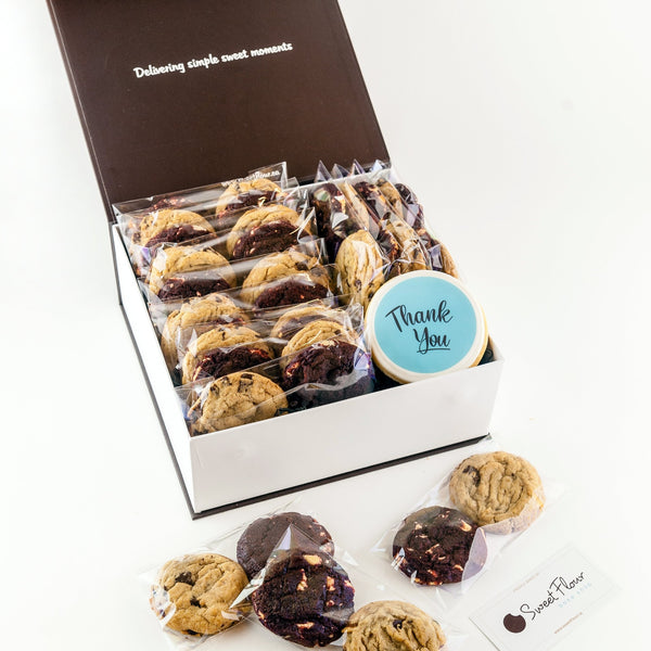 Gift Box of Gourmet Cookie Packs with Thank You decorated cookie