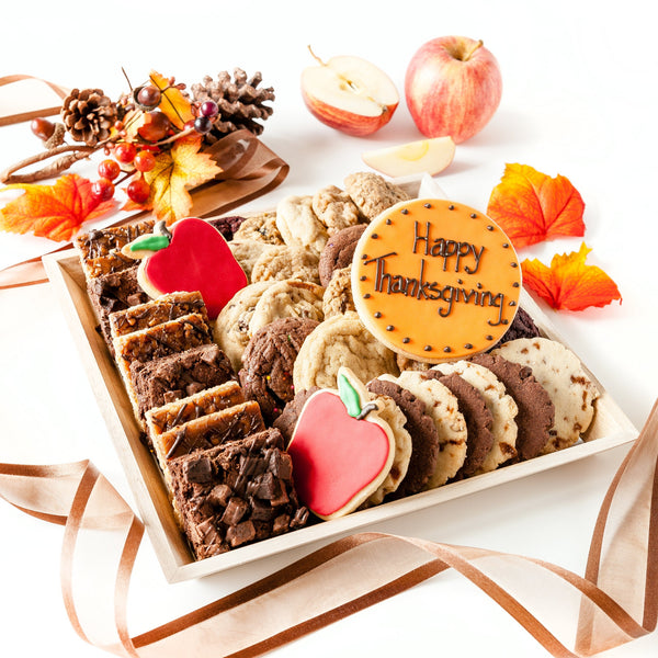 Happy Thanksgiving Cookie Tray with bars, cookies and apple decorated cookies