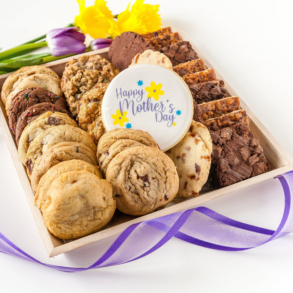 Mother's Day Cookie Tray with Assorted Cookies and gift ribbon