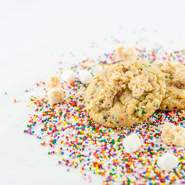 Stardust fully loaded stuffed cookie with rainbow sprinkles and marshmallow Rice Krispies