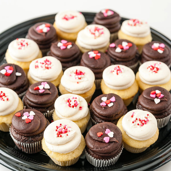 Valentine's Day Mini Cupcake Tray with Chocolate and Vanilla Cupcakes