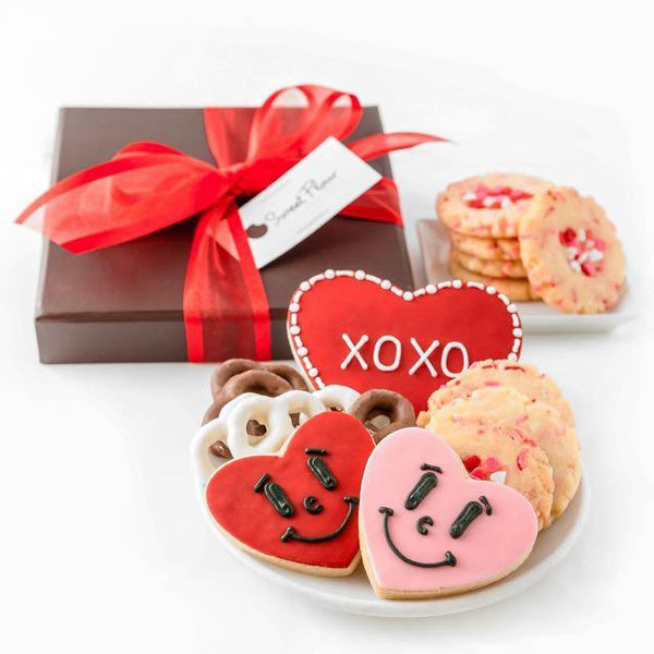 Cupid's Collection - Valentine's Day cookie  gift box with shortbread, chocolate and yogurt covered pretzels and smiley heart cookies