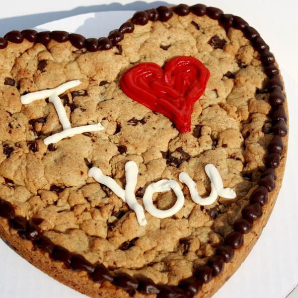 10 inch I love you heart shaped Cookie Cake with brown icing