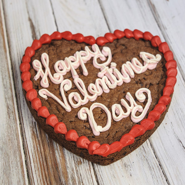 10 inch Happy Valentine's Day heart shaped chocolate rainbow Cookie Cake with pink frosting