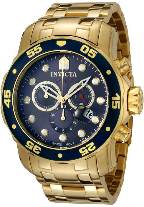 Pro Diver Chronograph Blue Dial 18kt Gold-plated Men's Watch