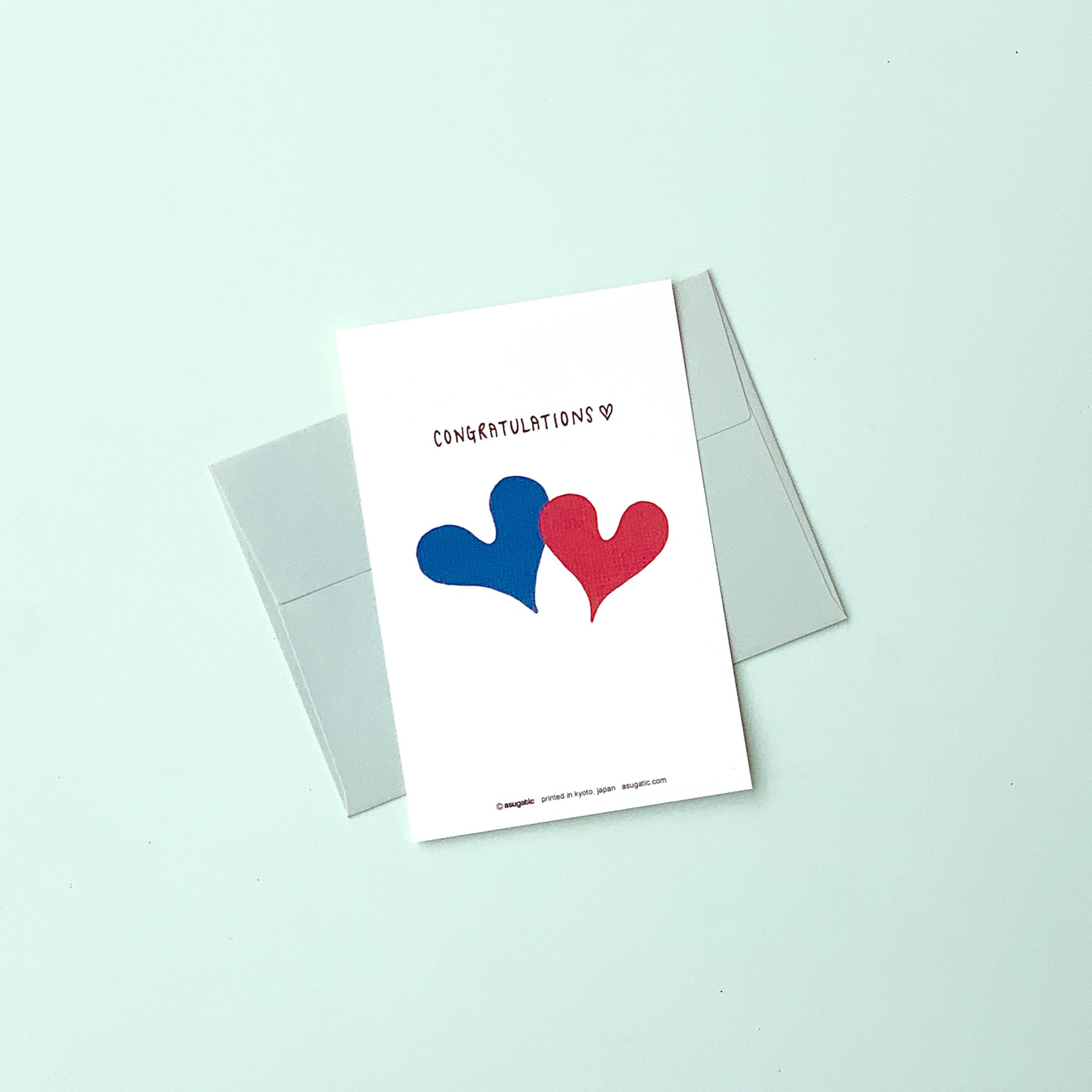 "Greeting Card ""Congratulations♡"" _ Mint Blue"