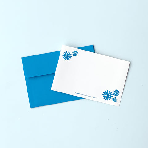 "Greeting Card ""HEARTic LUCKY flower"" _ Turquoise Blue"