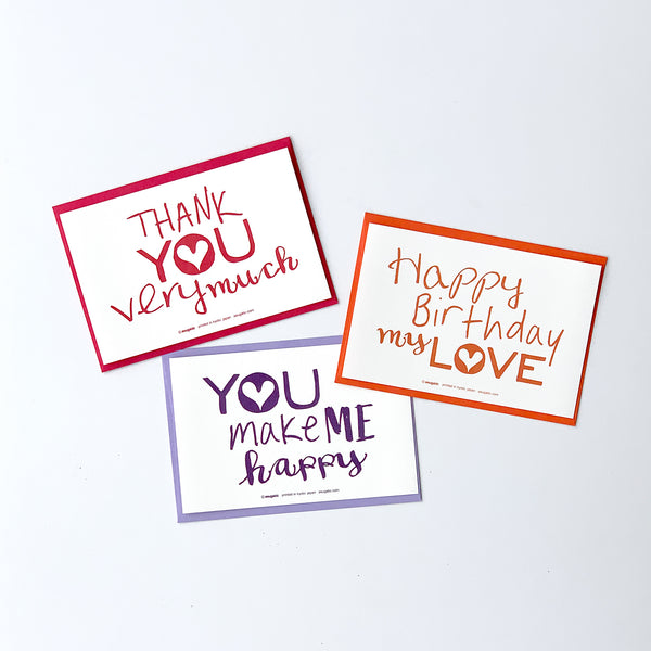 "Greeting Card ""Happy Birthday my love"" _ Tangerine Orange"