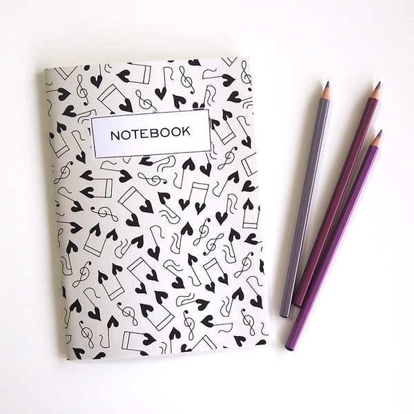 "A5 notebook ""Happy HEARTic Musicalnotes"""