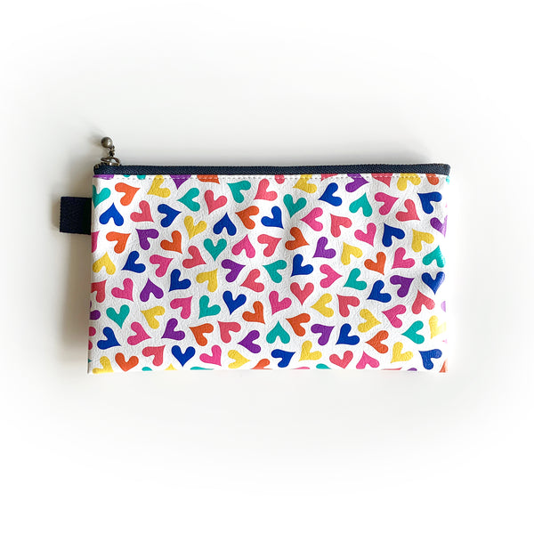 "Flat Pouch ""Dancing HEARTs"" _ Multi Color"