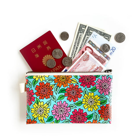 "Flat Pouch ""HEARTic FUNKY flower"" _ Multi Color"