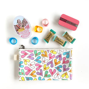 "Flat Pouch ""Conversation HEARTs"" _ Pop Pastel"