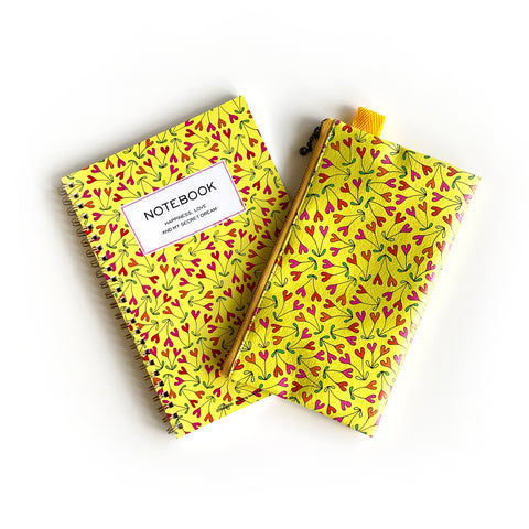 "Flat Pouch ""HEARTic couple"" _ Hansa Yellow"