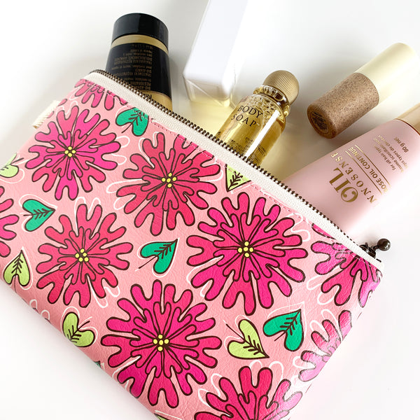 "Flat Pouch ""HEARTic LOVELY flower"" _ Rose Pink"