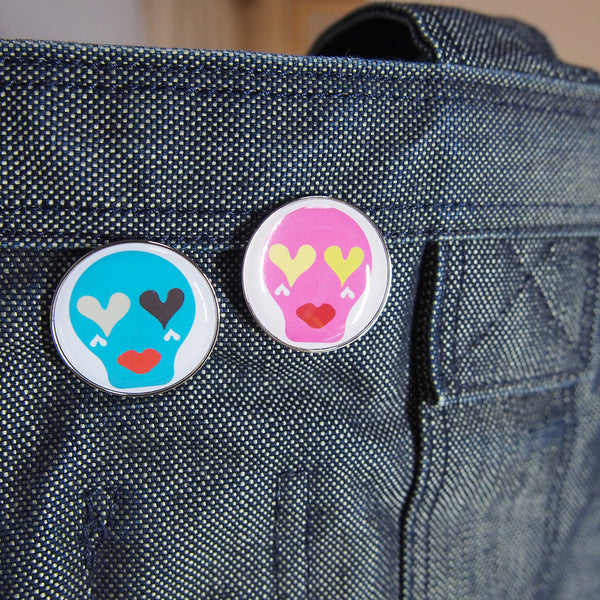 Sugar Skull Pin Badge _ Hot Pink