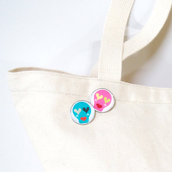 Sugar Skull Pin Badge _ Turquoise Blue
