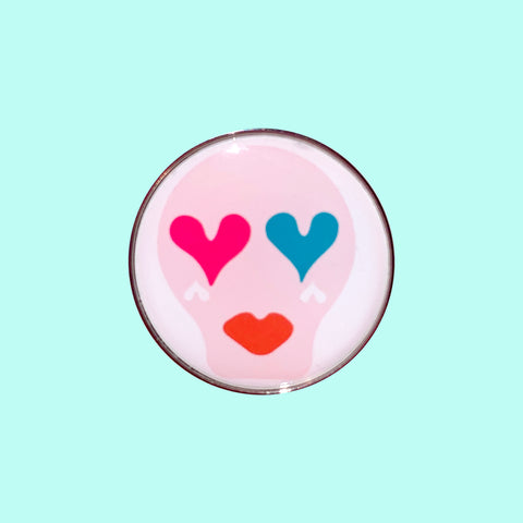 Sugar Skull Pin Badge _ Light Pink