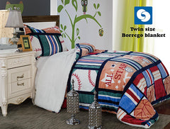 Sports Twin Borrego Blanket With Pillowcase