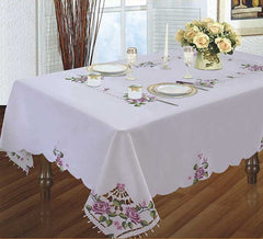 Embroidered Tablecloth with Roses
