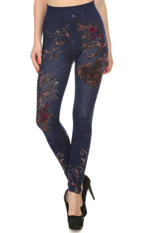 Printed Jegging With Lining #751-F