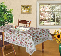 Floral Print Tablecloth or Curtain Adorned With Lace
