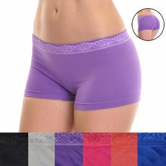 Seamless boyshorts with lacy waistband