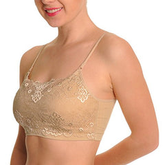 Spagetty Strap Seamless Top With Lace Modesty